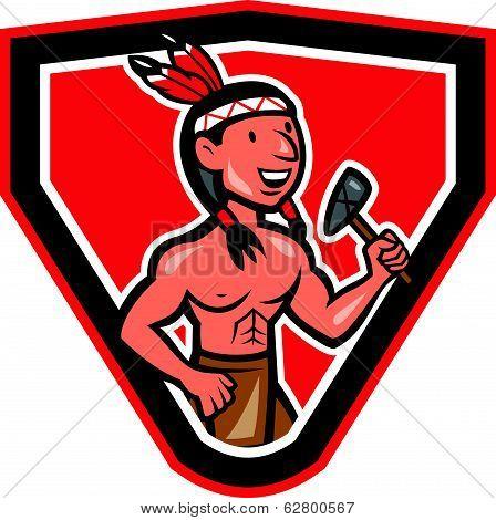 Native American Holding Tomahawk Cartoon