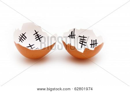 Broken Egg Shell On White Background