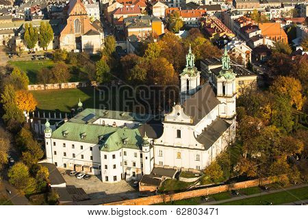 KRAKOW, POLAND - OCT 20, 2013: View of the Church of St. Stanislaus Bishop. In 1733-1751 the church received a baroque decor. It is one of the most famous Polish sanctuaries.