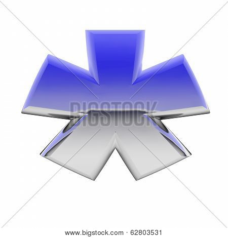 Chrome Asterisk Sign With Color Gradient Reflections Isolated On White