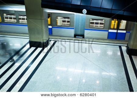 Underground Platform Interior With Move Train