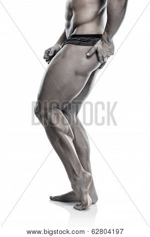 Strong Athletic Man Fitness Model Torso Showing Naked Muscular Body And Legs (iron Colored)