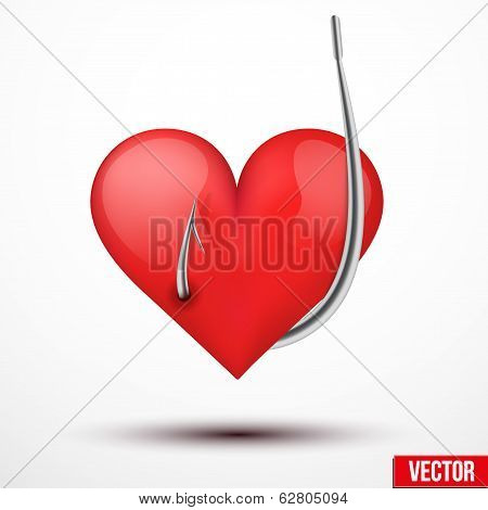 Big realistic heart hung by fishhook