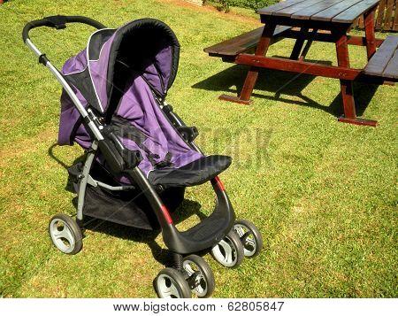 Empty Baby Stroller Grass