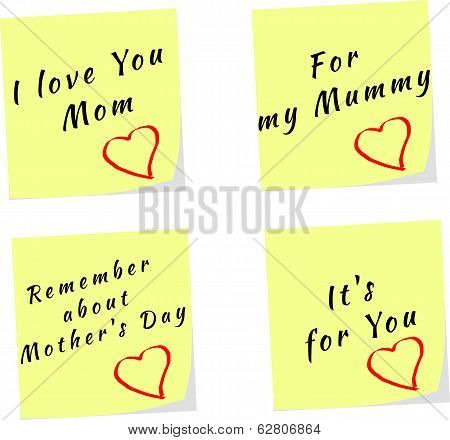 Vector Of Yellow Stick Note Reminders For Mother's Day