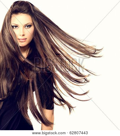 Fashion Model Girl Portrait with Long Blowing Hair. Sexy Glamour Beautiful Woman with Healthy and Beauty Brown Hair isolated on a white background. Flying long hair