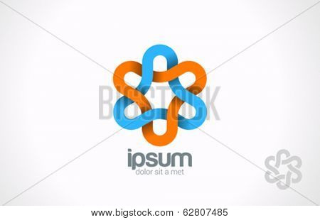 Flower loop infinity vector logo design template. Triangle looped infinite shape. Impossible icon