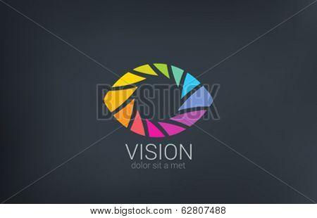 Eye shutter vector logo design template. Photo video shooting concept. Creative photography icon.