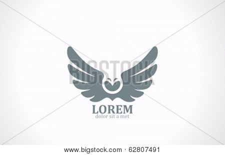 Bird wings abstract vector logo design template. Flying Owl icon. Luxury vintage eagle falcon emblem.