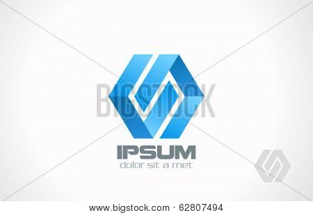 Hexagon Loop Infinity Ribbon vector logo design template. Corporate infinite icon. Business creative concept.