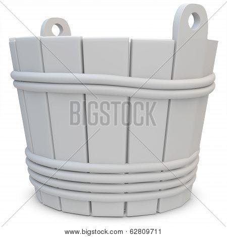 3D Wooden Empty Bucket