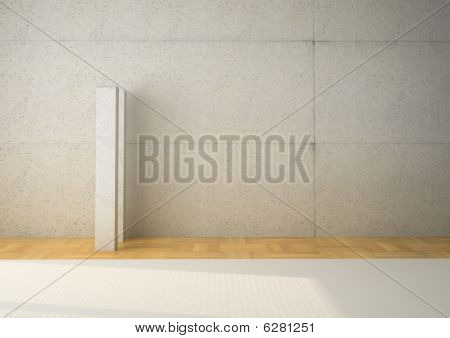 Blank White Wall With Column