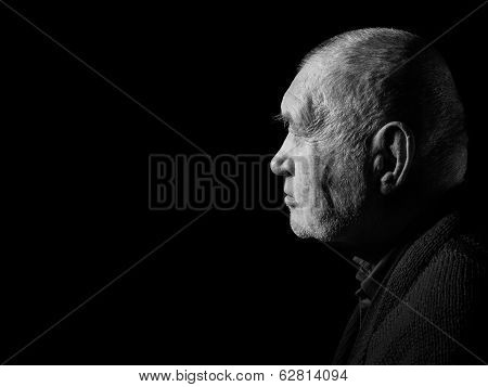 Sad Elderly Gray Man
