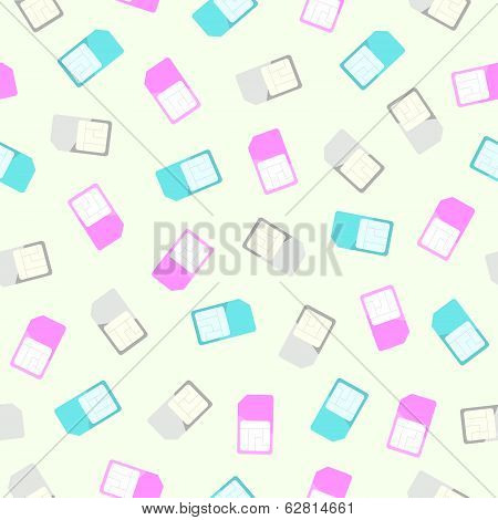 Sim card seamless pattern and background. Flat design coloured simcards texture. Vector illustration