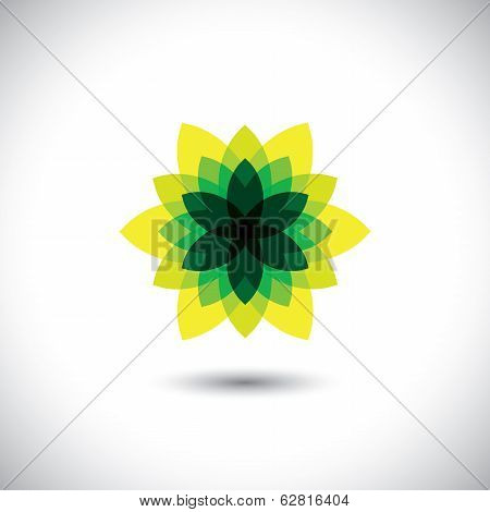Green Flower Icon Made Of Illusory & Fantasy Leaves - Eco Concept Vector