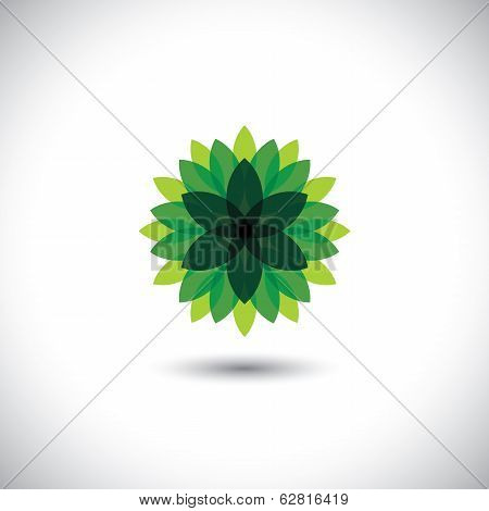 Green Flower Icon Of Leaves In Stylized Pattern - Eco Concept Vector