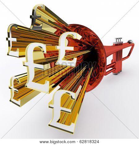 Pound Sign Shows British Wealth And Money