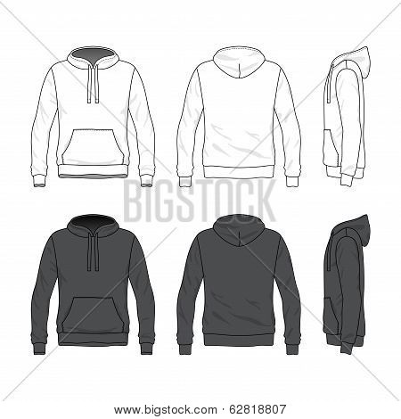 Front, Back And Side Views Of Blank Hoodie.