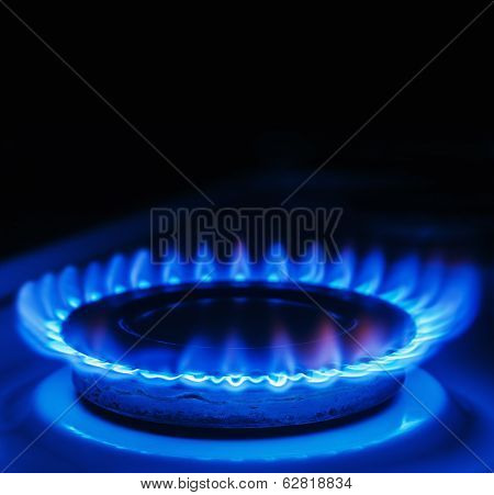 Blue Flames Of Gas Burning From A Kitchen Gas Stove