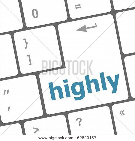 Highly Word On Computer Pc Keyboard Key