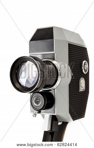 Old 8Mm Movie Camera On White