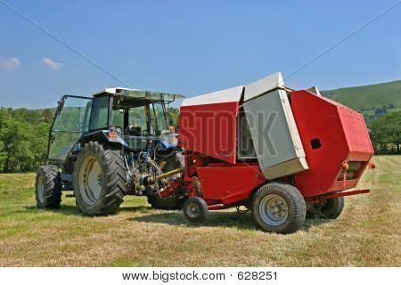 Circular Hay Baler And Tractor
