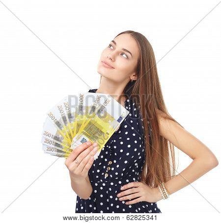 Woman Holding Euro Money