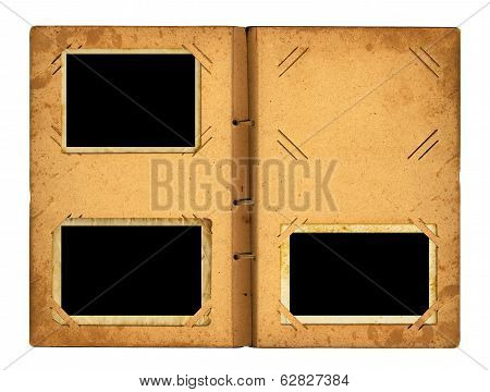 Open Photoalbum With Ribbon For Photos On The Isolated White Background