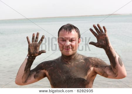 Man With Mineral Mud Body