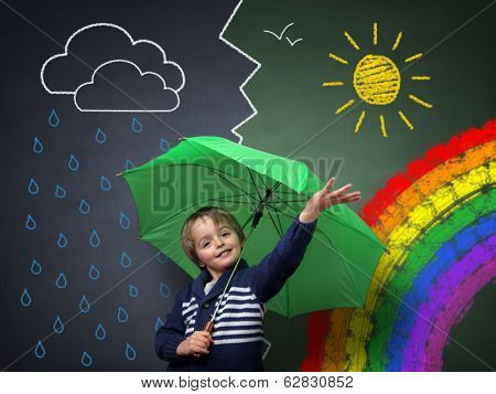 Child holding an umbrella standing in front of a chalk drawing of changing weather from rain storm t poster