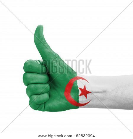 Hand With Thumb Up, Algeria Flag Painted As Symbol Of Excellence, Achievement, Good - Isolated On Wh