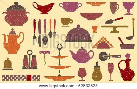 Background with kitchen ware