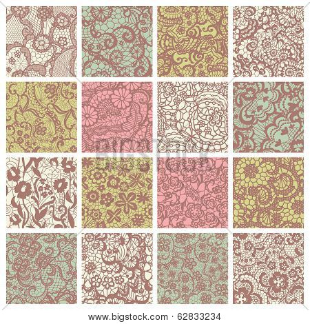 Big collection of floral lacy patterns.