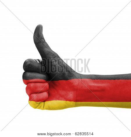 Hand With Thumb Up, Germany Flag Painted As Symbol Of Excellence, Achievement, Good - Isolated On Wh
