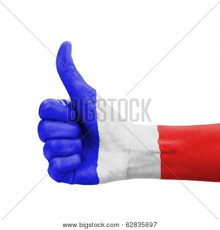 Hand With Thumb Up, Guadeloupe Flag Painted As Symbol Of Excellence, Achievement, Good - Isolated On