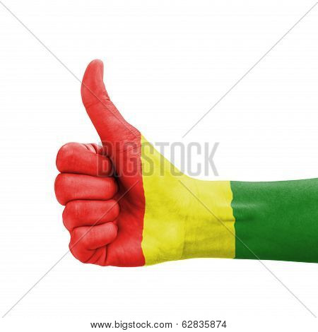 Hand With Thumb Up, Guinea Flag Painted As Symbol Of Excellence, Achievement, Good - Isolated On Whi