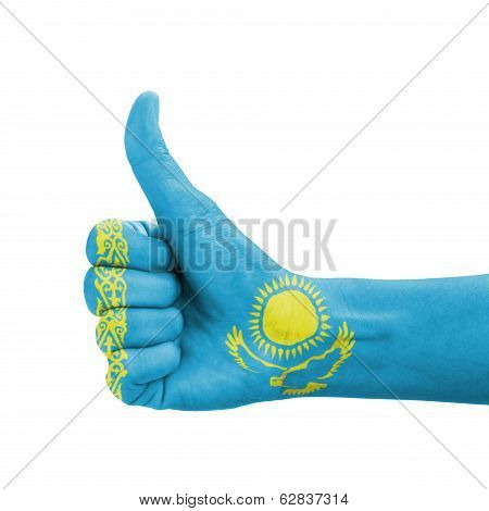 Hand With Thumb Up, Kazakhstan Flag Painted As Symbol Of Excellence, Achievement, Good - Isolated On