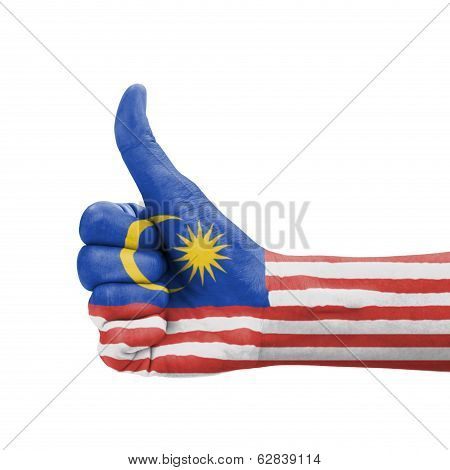 Hand With Thumb Up, Malaysia Flag Painted As Symbol Of Excellence, Achievement, Good - Isolated On W
