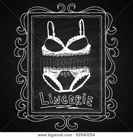 Lingerie set in hand drawn frame. Chalk on board.