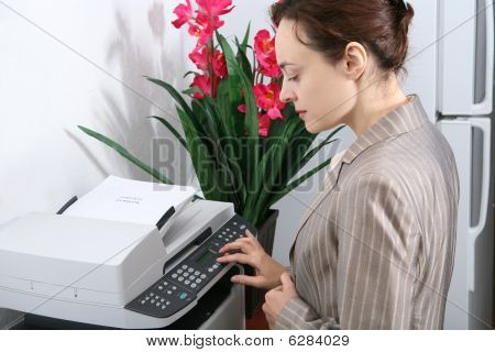 Business Woman Making Copies