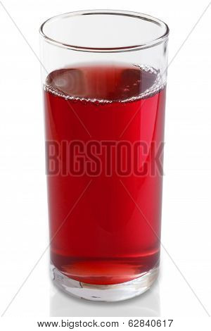 Tall glass of fresh cranberry juice