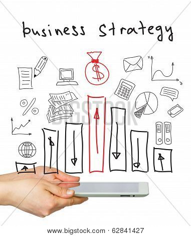 Hands, tablet pc and business strategy