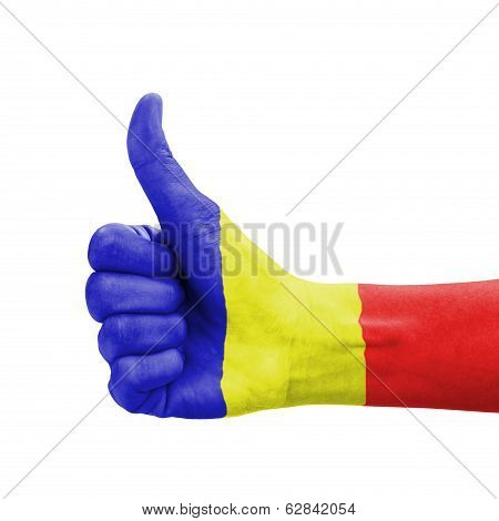Hand With Thumb Up, Romania Flag Painted As Symbol Of Excellence, Achievement, Good - Isolated On Wh