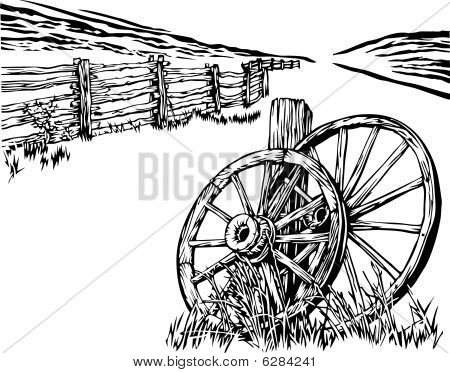 Wagon wheel and fence illustration