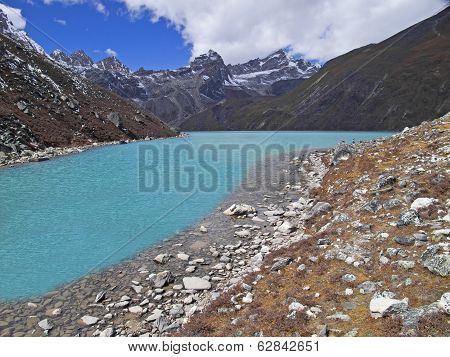 Beautiful Mountain View with lake, Everest Region, Nepal.