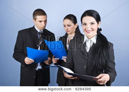 Business Woman Holding  Document Folder