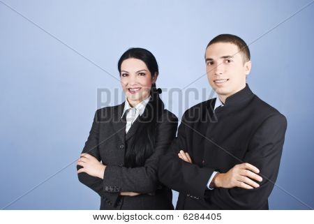 Cheerful Two Business People