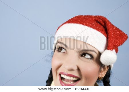Happy Santa Woman Looking Up