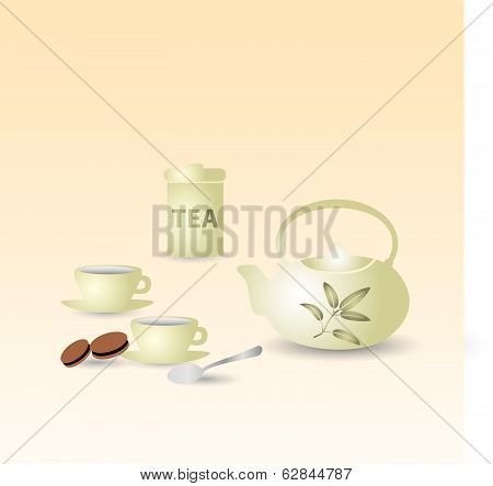 teapot and tea cups on the table eps10