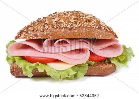 Sandwich With Ham, Cheese, Tomatoes And Lettuce,  Isolated